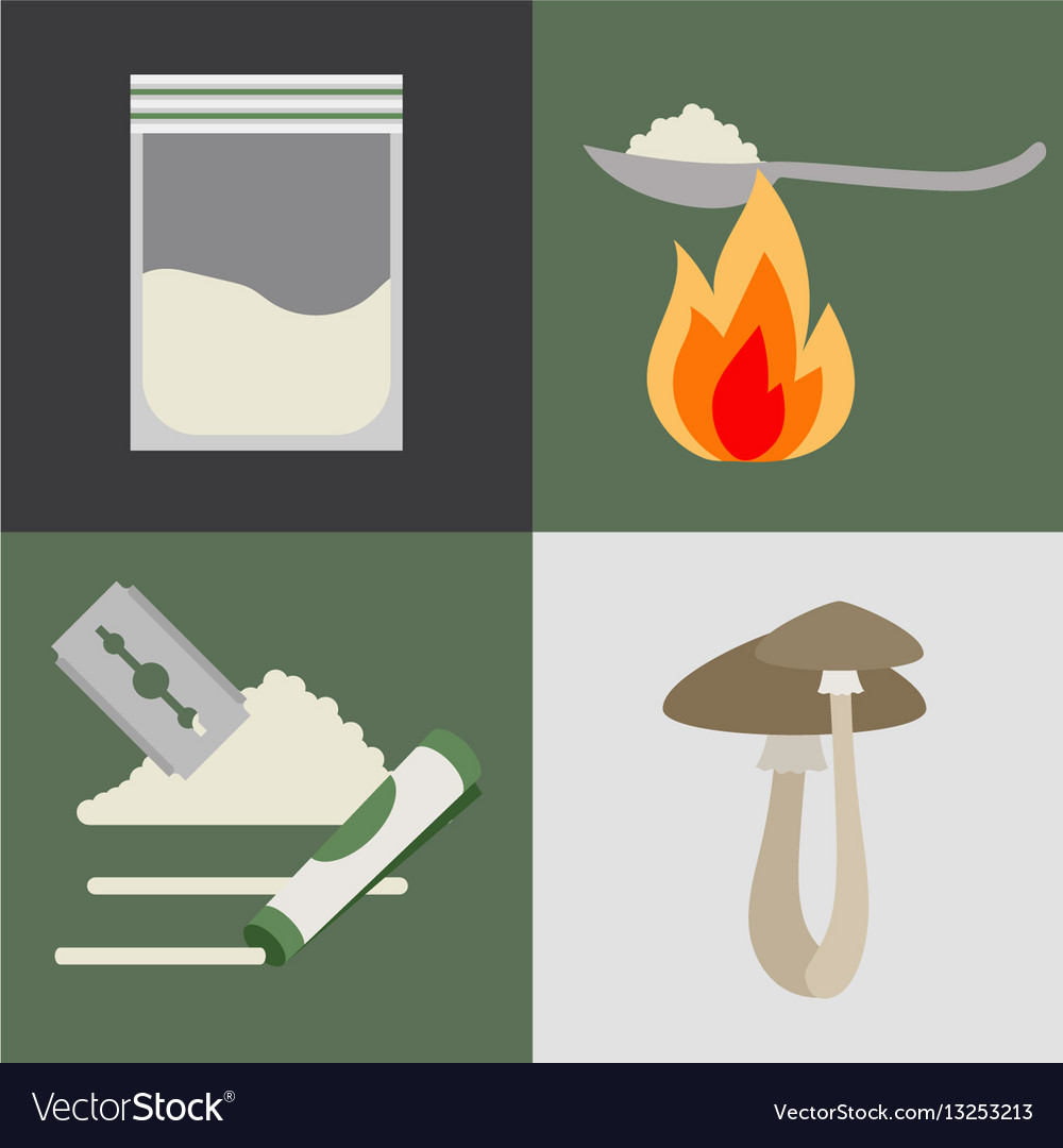 Drugs and mushrooms icons set