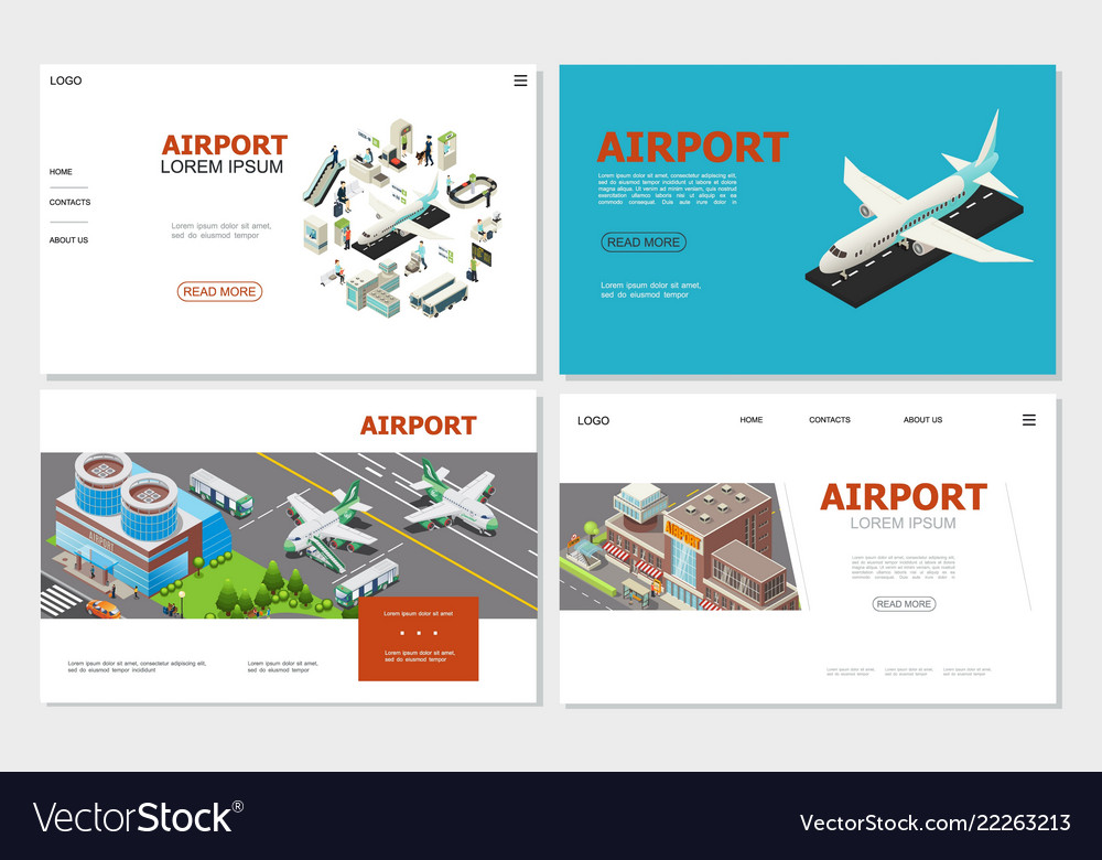 Isometric airport websites collection