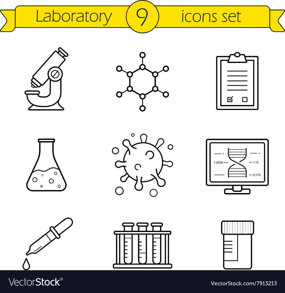 Laboratory tools linear icons set