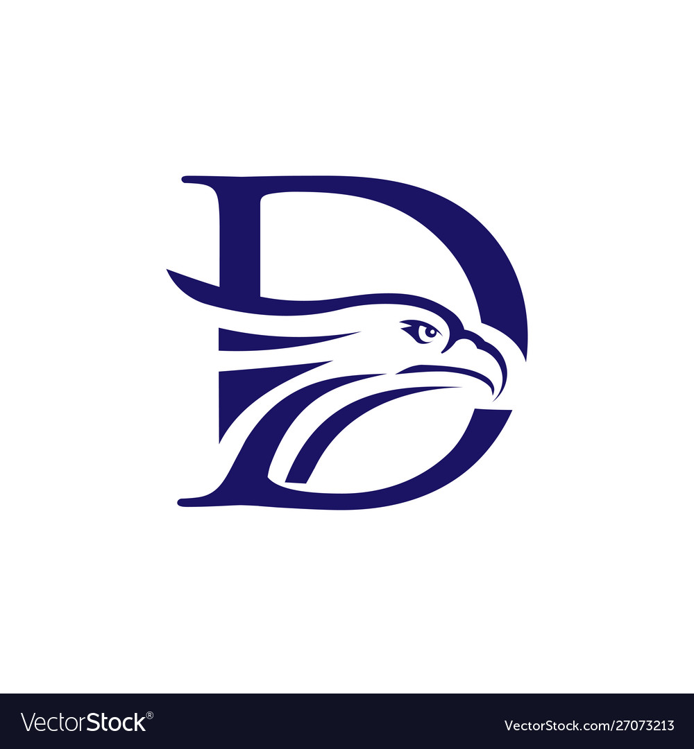 Letter d and eagle head logo