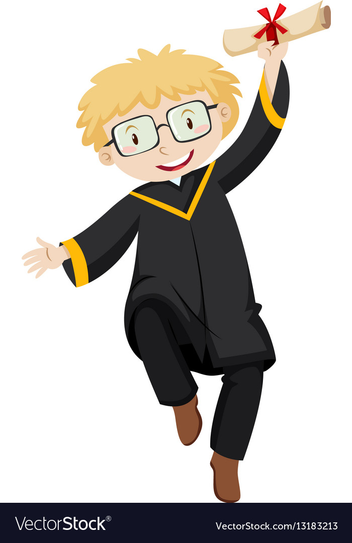Man in black graduation gown holding degree Vector Image
