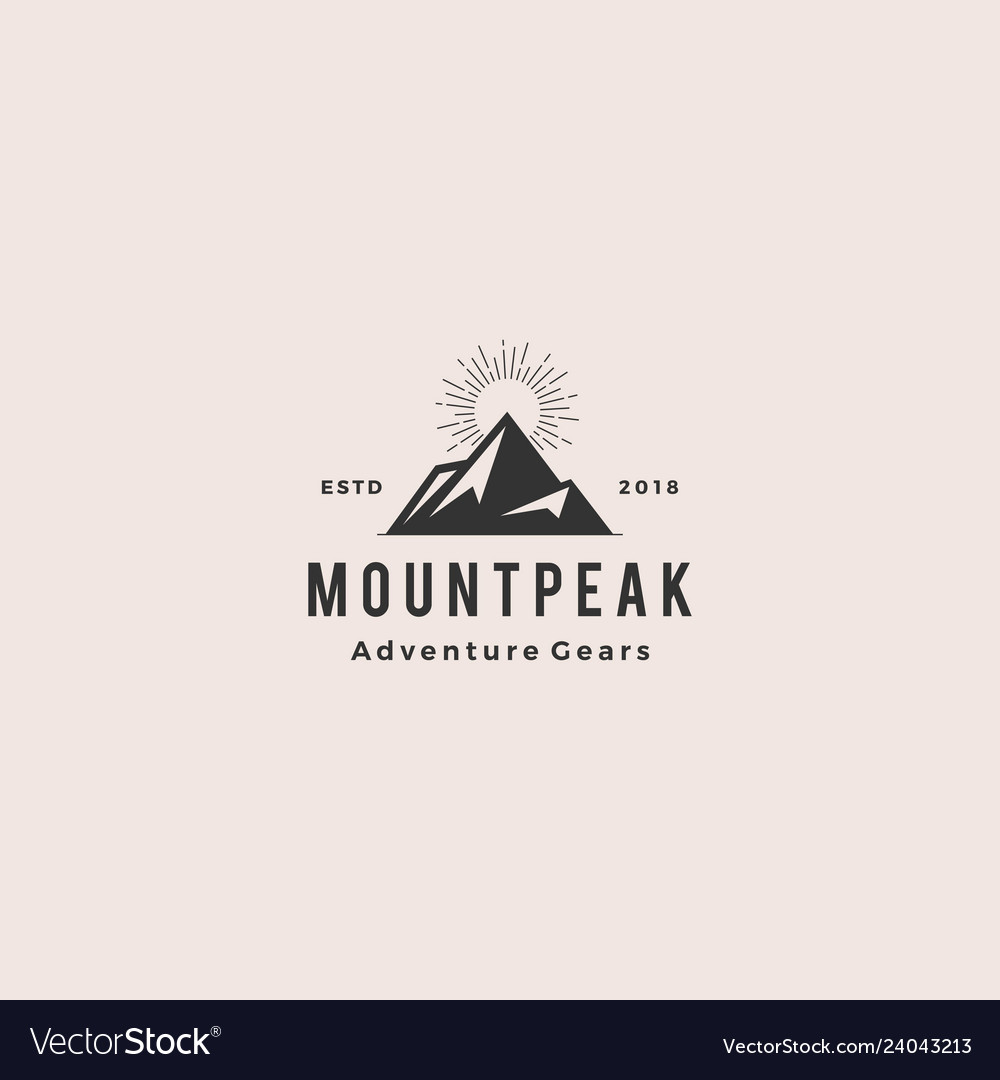 Mount peak mountain logo hipster vintage retro vector