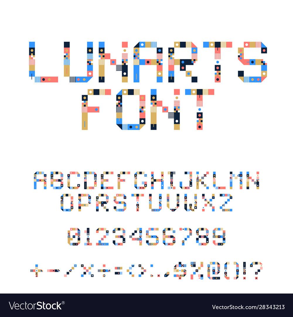 Pixel art alphabet colorful letters consist of