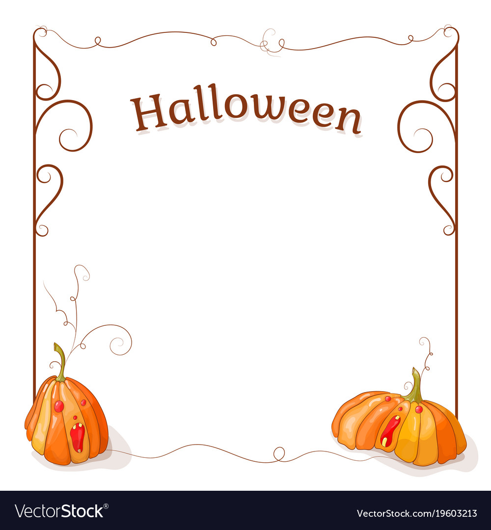 Pumpkin frame for your tex vector image on VectorStock