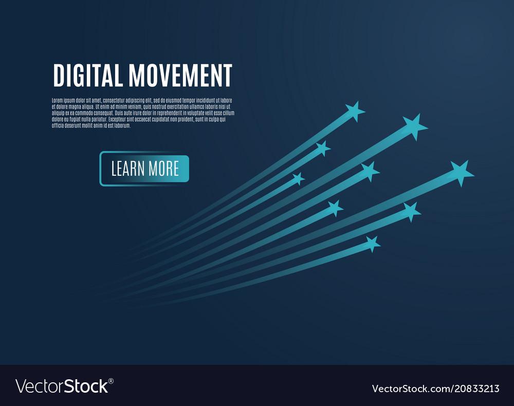 Speed movement concept comet flies blue color