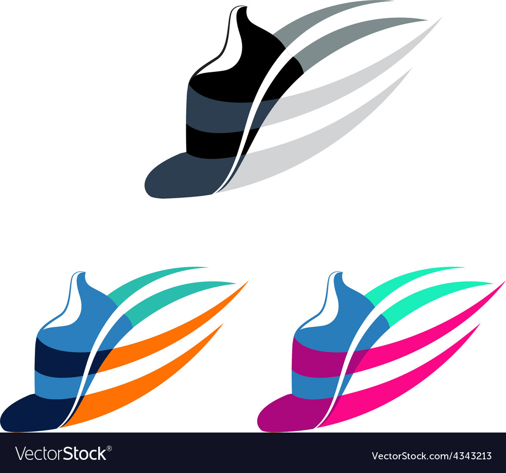 Sport shoes sign with color variations