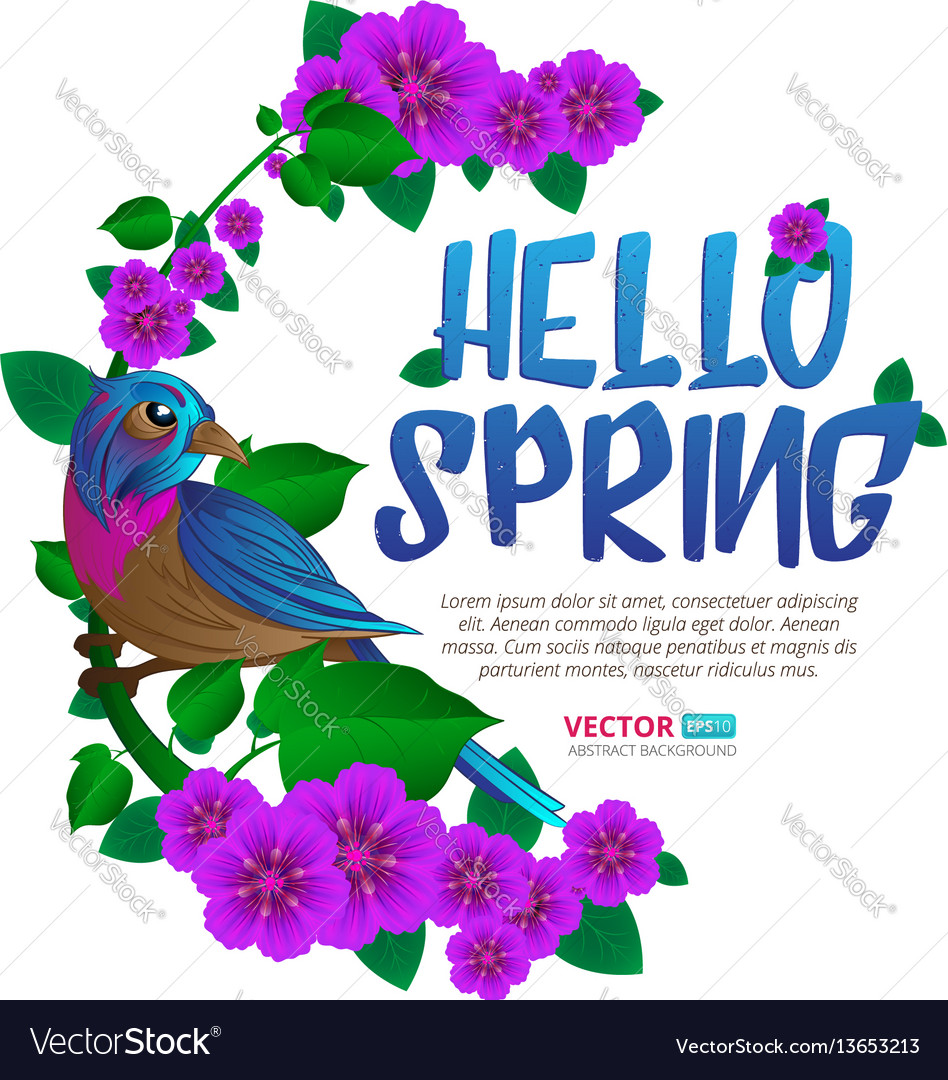 Spring season frame witn exotic bird sitting on a