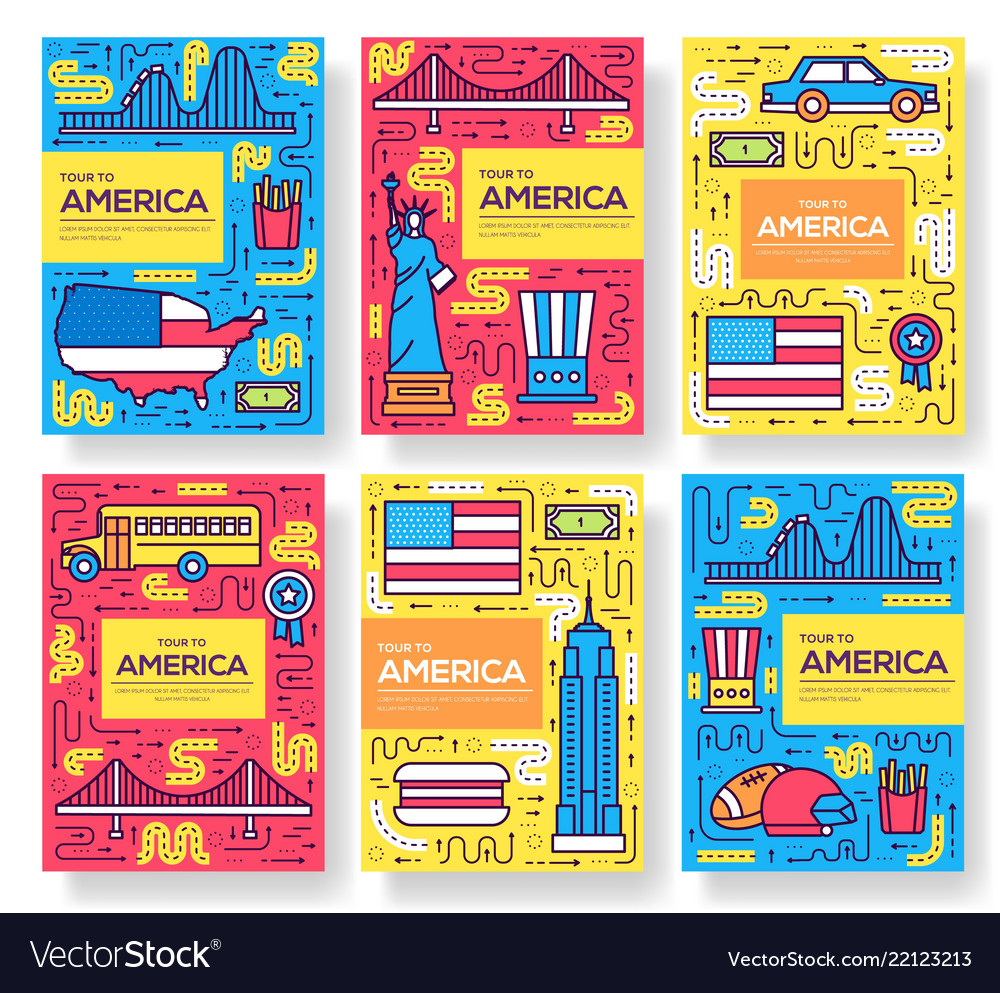 Usa brochure cards thin line set country