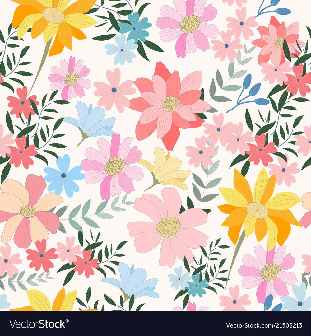 Vintage light blue and pink wild flower and leaf