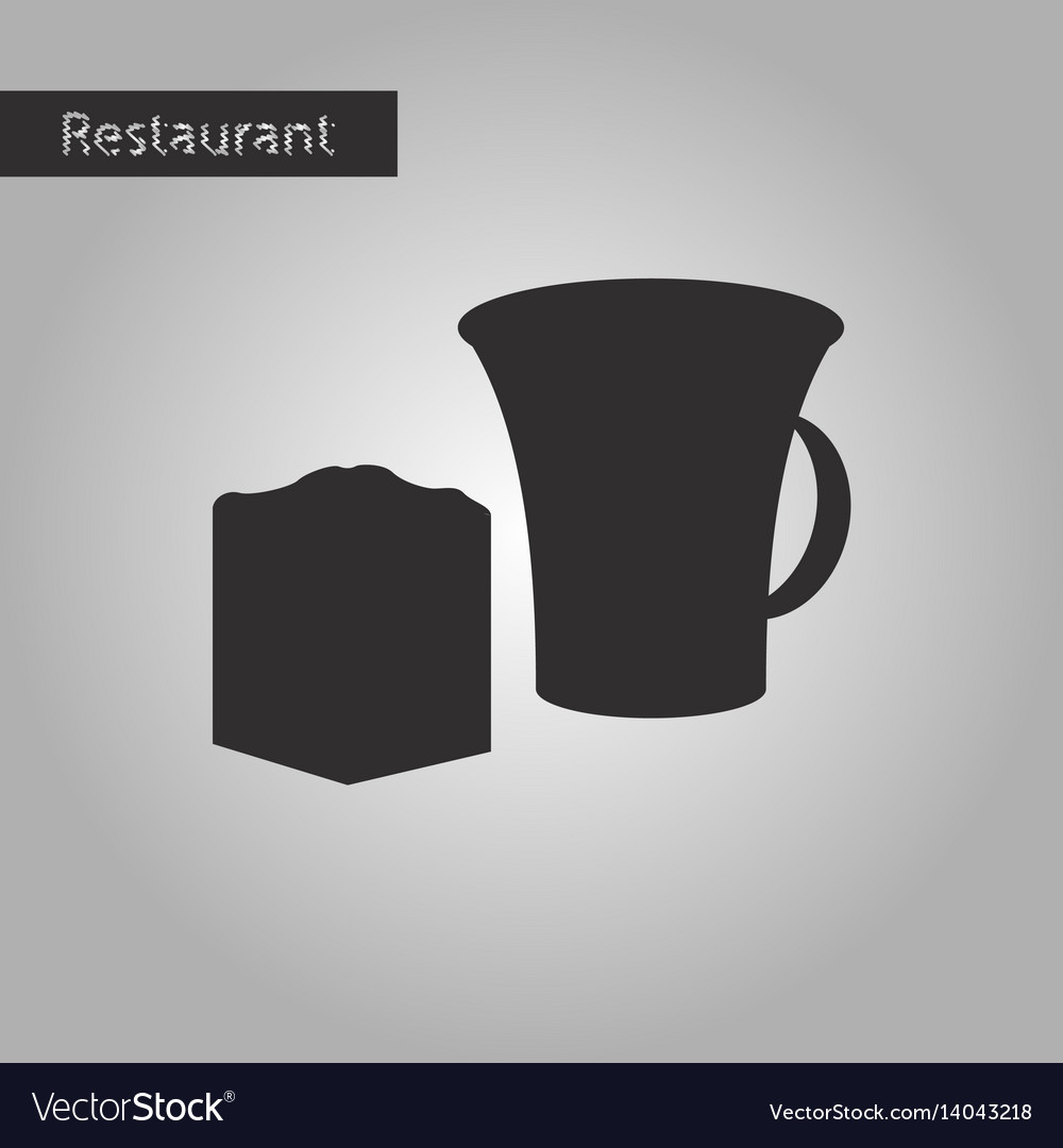 Black and white style icon cup and pie vector image
