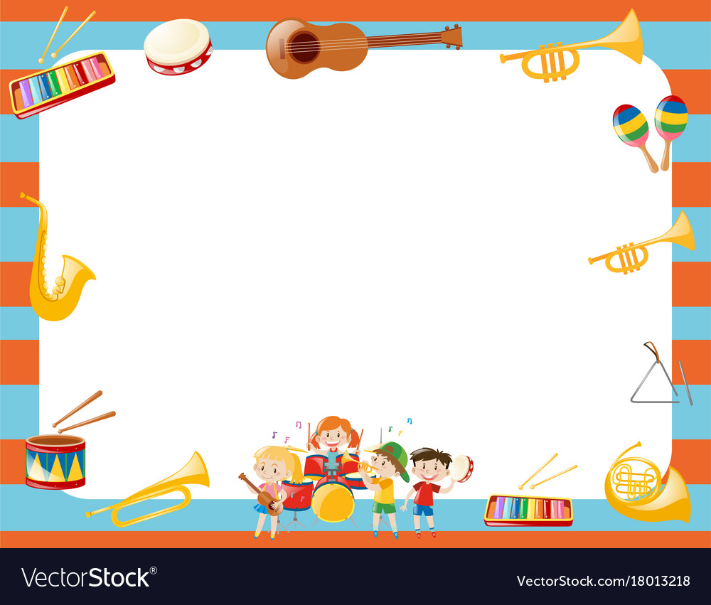 Border template with musical instruments vector image