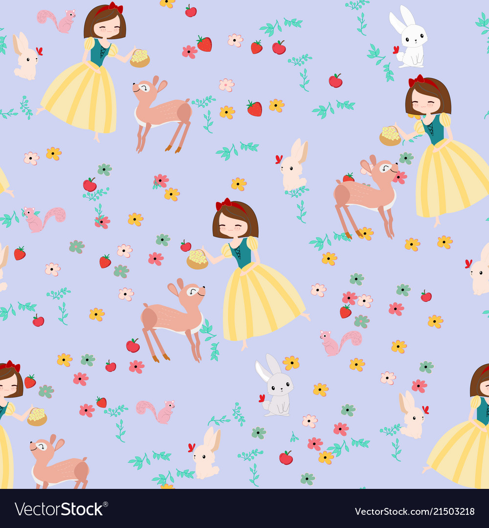 Cute cartoon princess and wild animal seamless