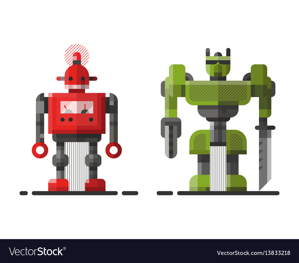 Cute vintage robot technology machine future