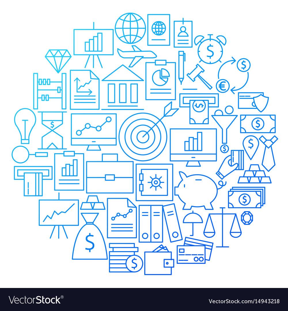 Finance line icon circle design