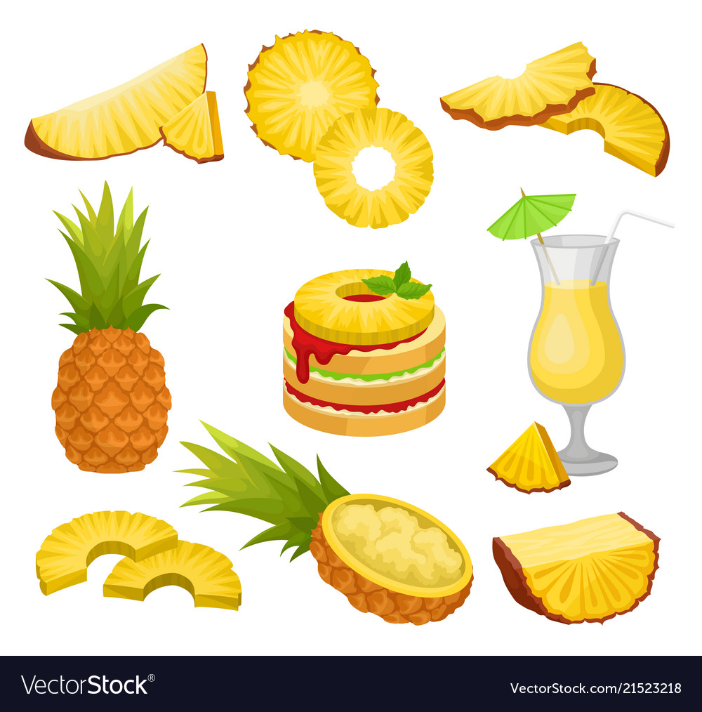 Flat set of cut and whole pineapples