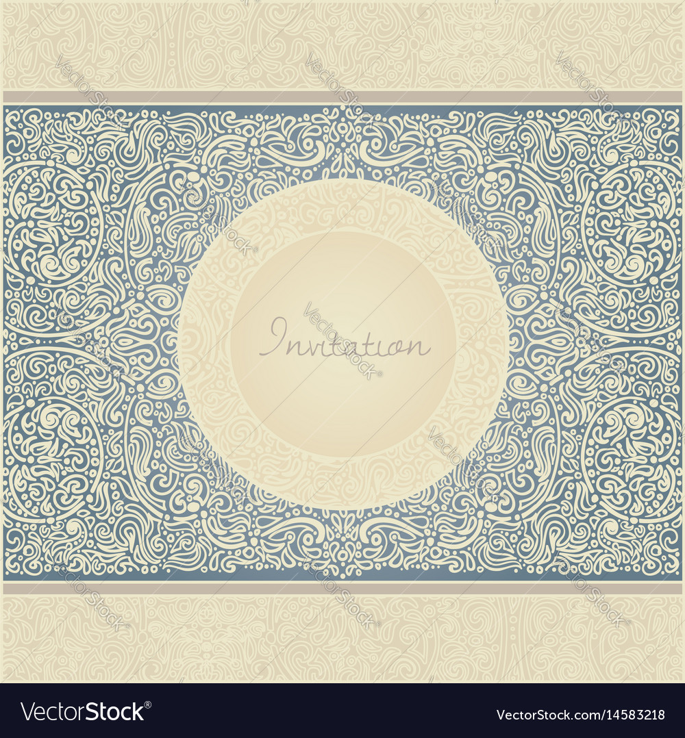 Floral retro invitation card vector image
