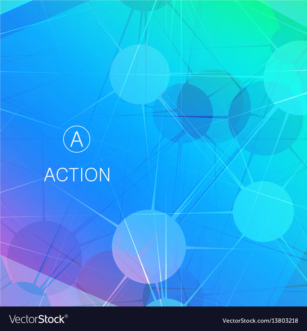 Geometric color molecule background connected vector image