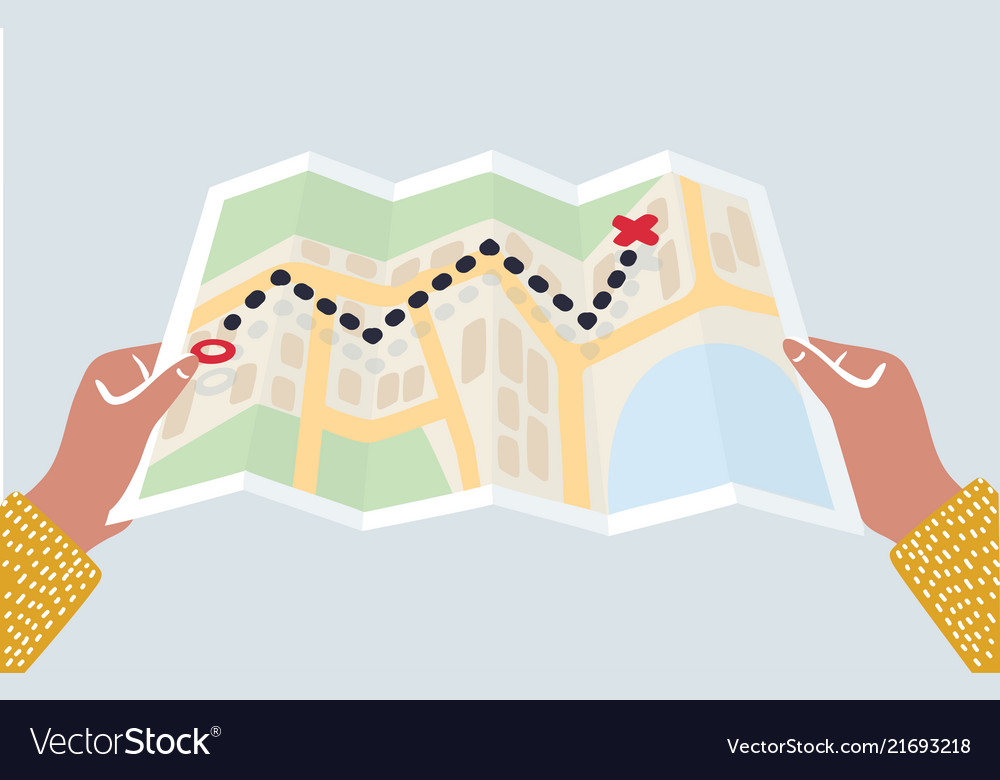 Hands holding paper map