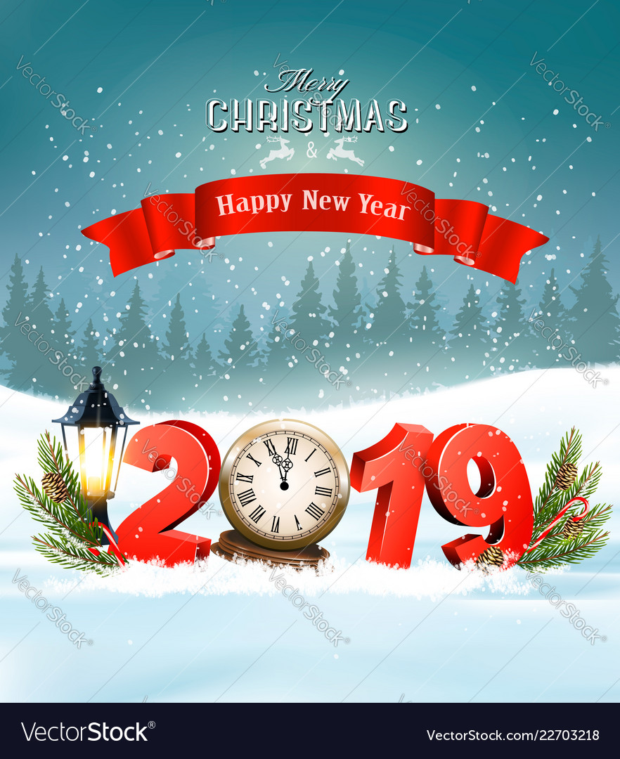 Merry christmas background with 2019 and clock