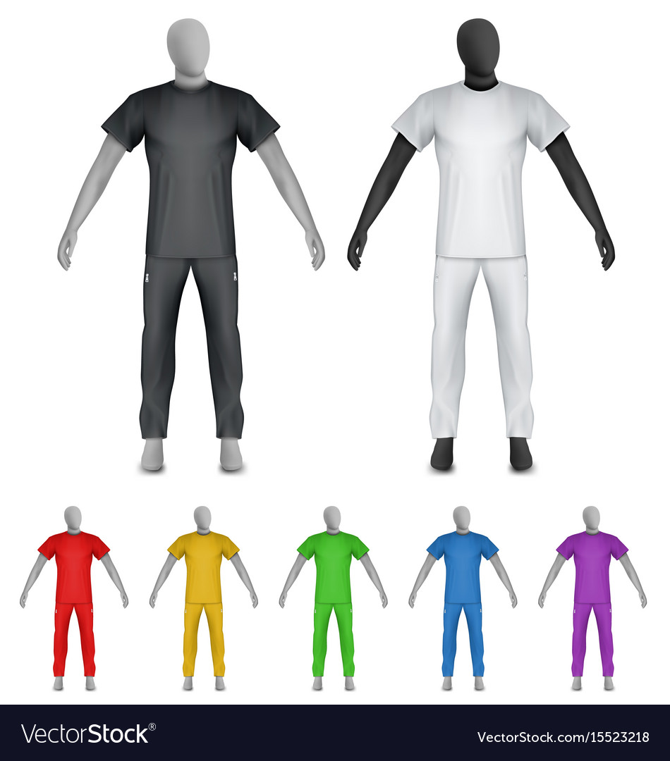 Plain shirt and sweatpants on mannequin template