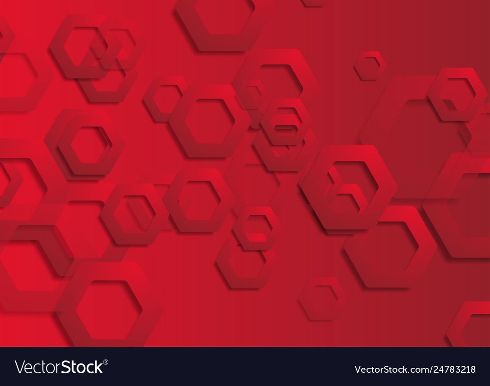 Red tech paper hexagons abstract background