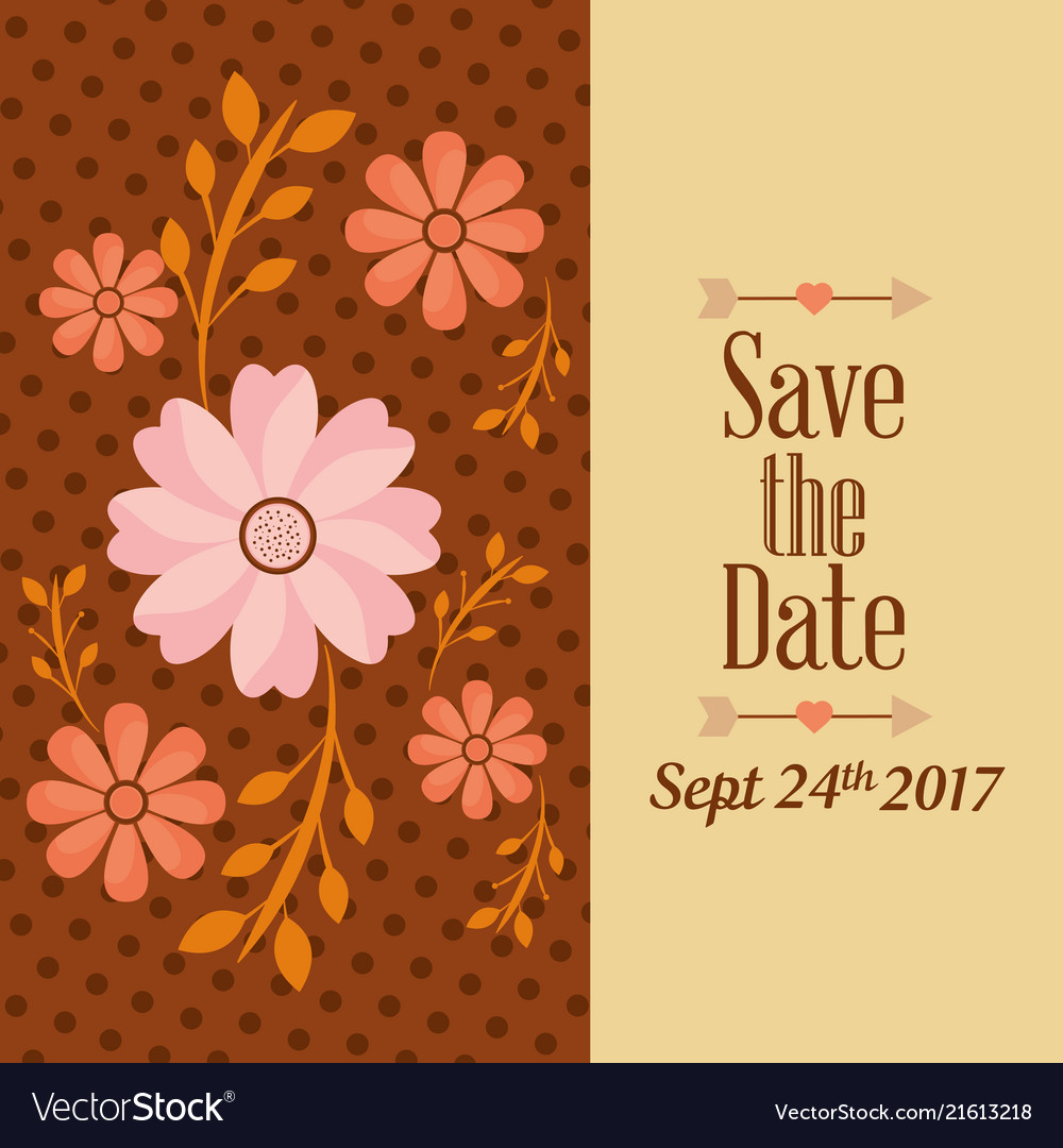 Save the date flower natural dots decoration