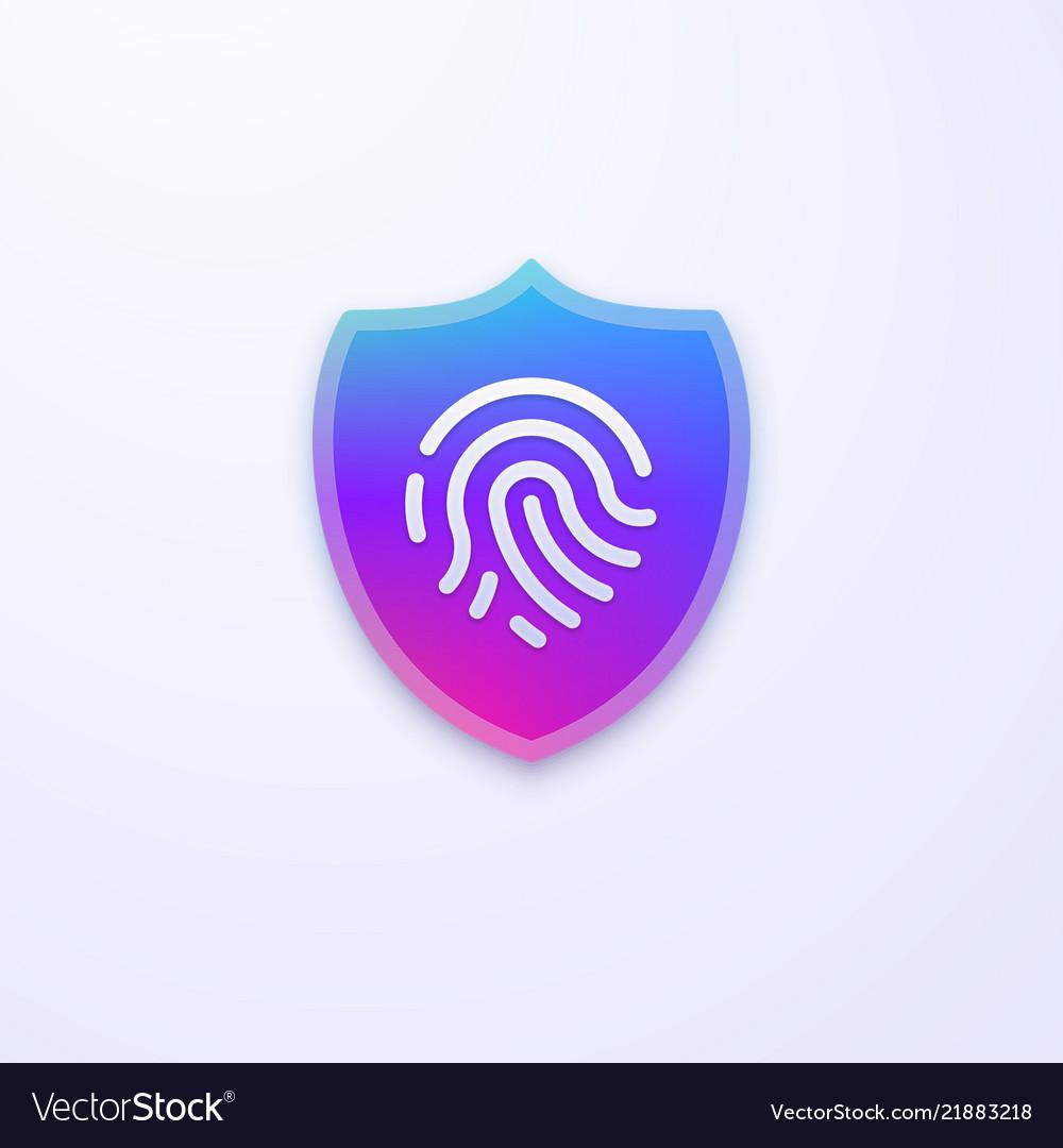 Security shield icon fingerprint identification