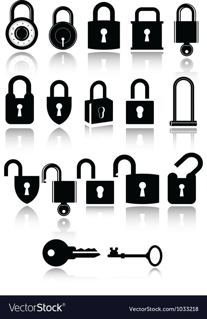 Set lock and key icons