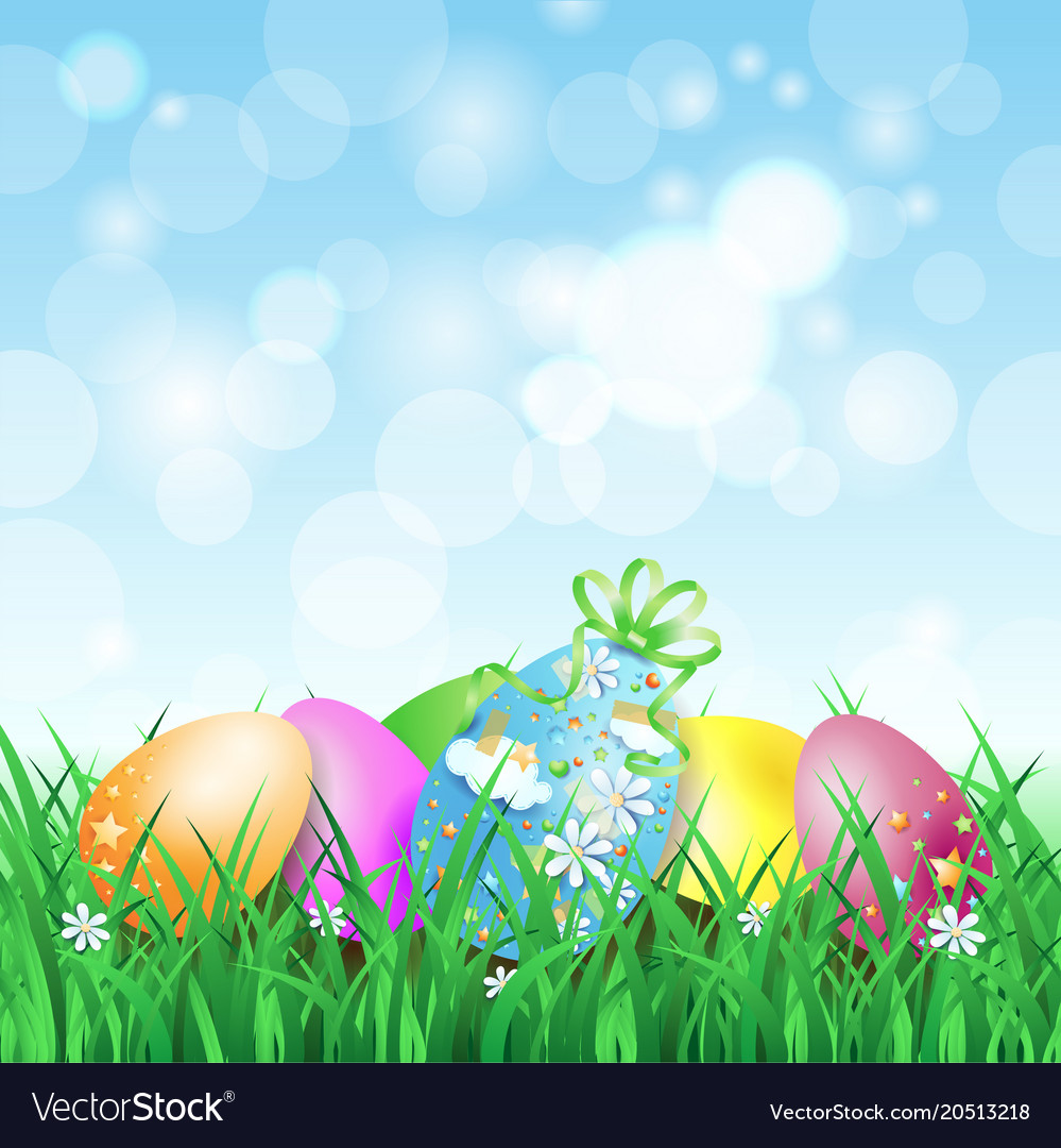 Spring landscape with easter eggs