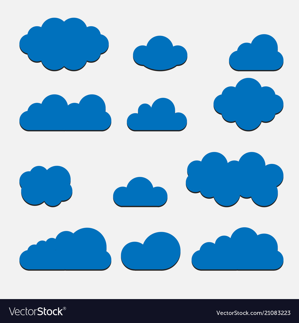 Blue cloud set icons isolated on background