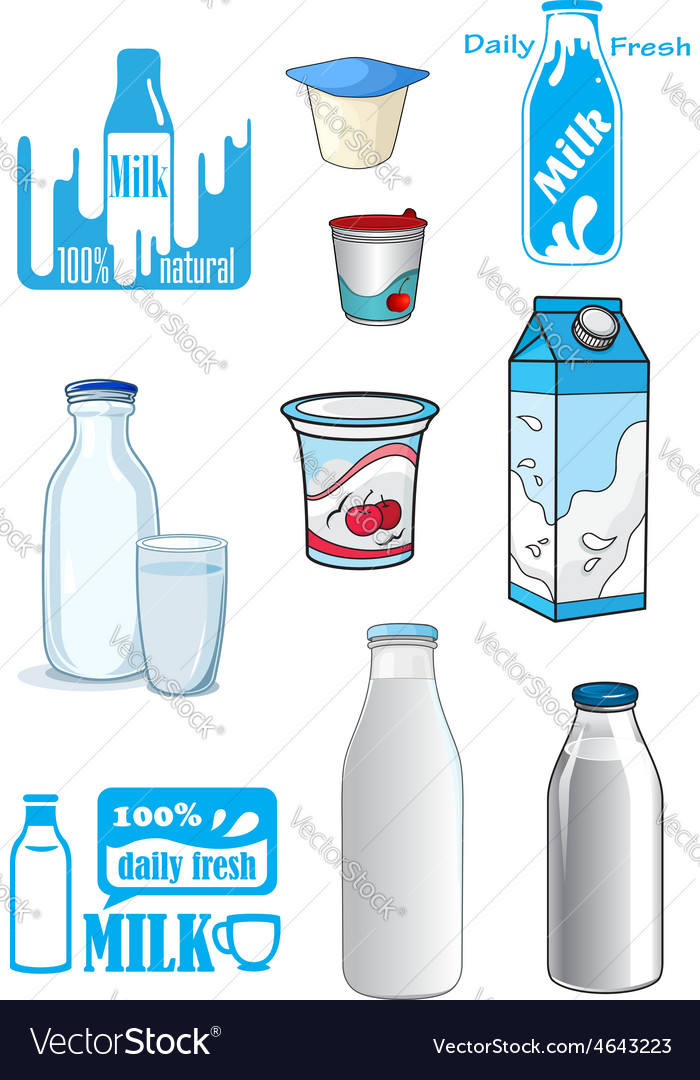 Cartoon milk products and drinks