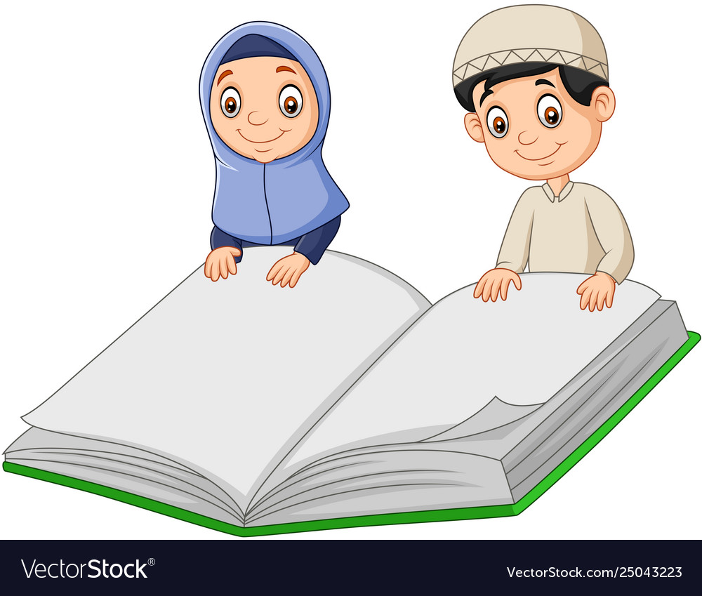 Cartoon muslim boy and muslim girl holding a giant