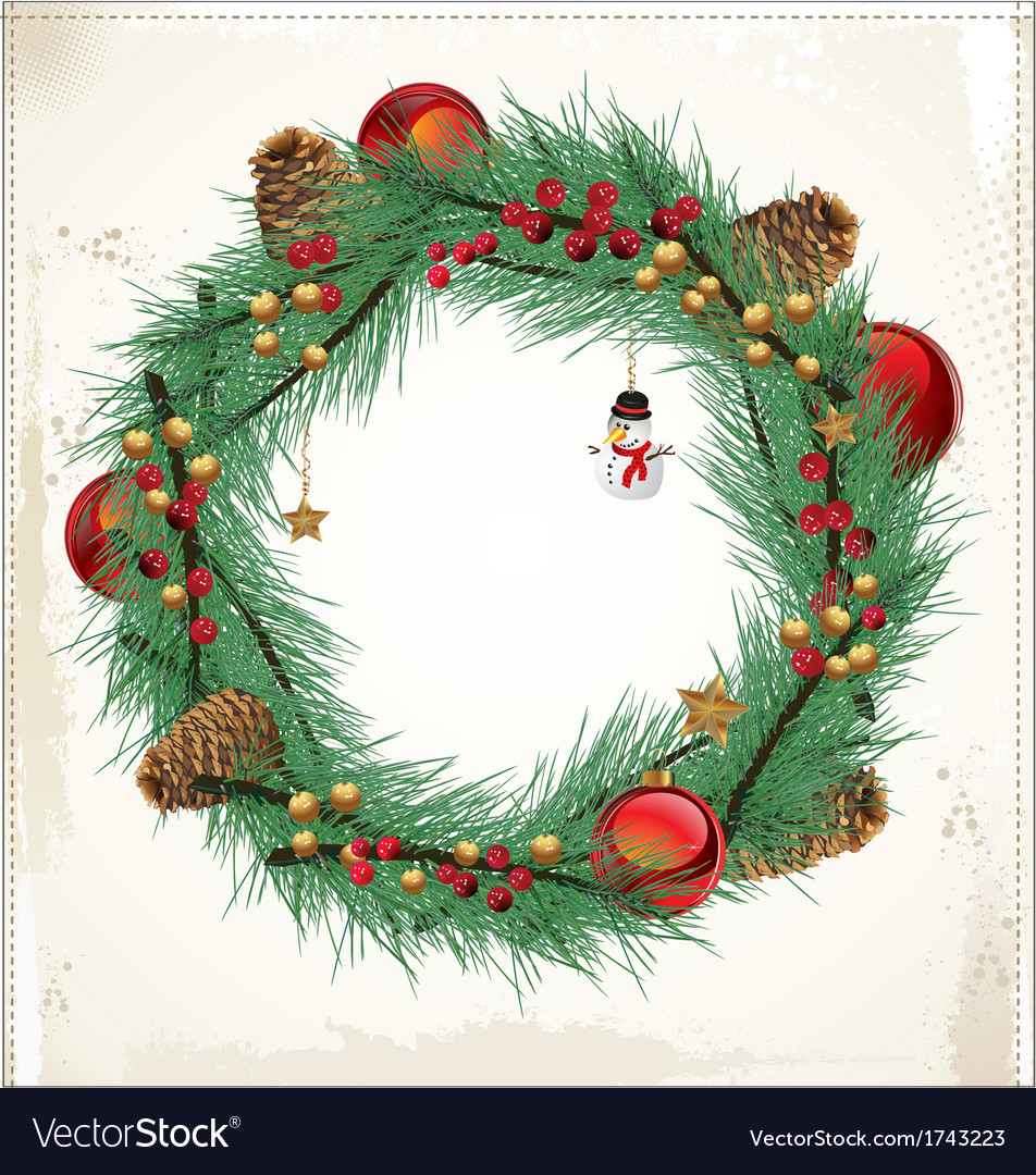 Christmas floral wreath vector image
