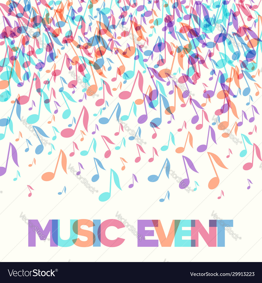 Colorful music event notes background
