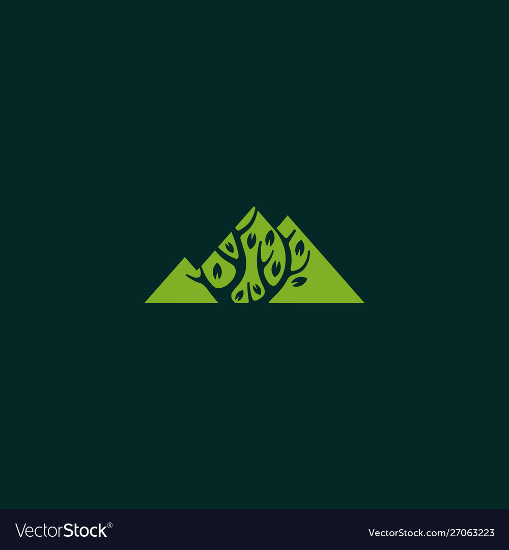 Mountain with tree landscaping logo