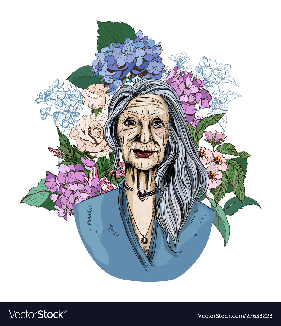 Old woman surrounded with hydrangeas and flowers