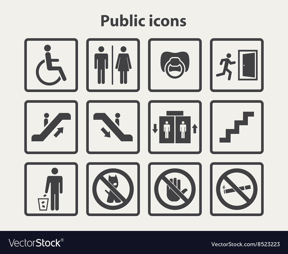 Public information icons set