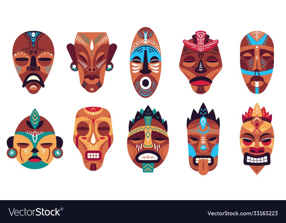 Tribal mask color hawaii totem ritual or