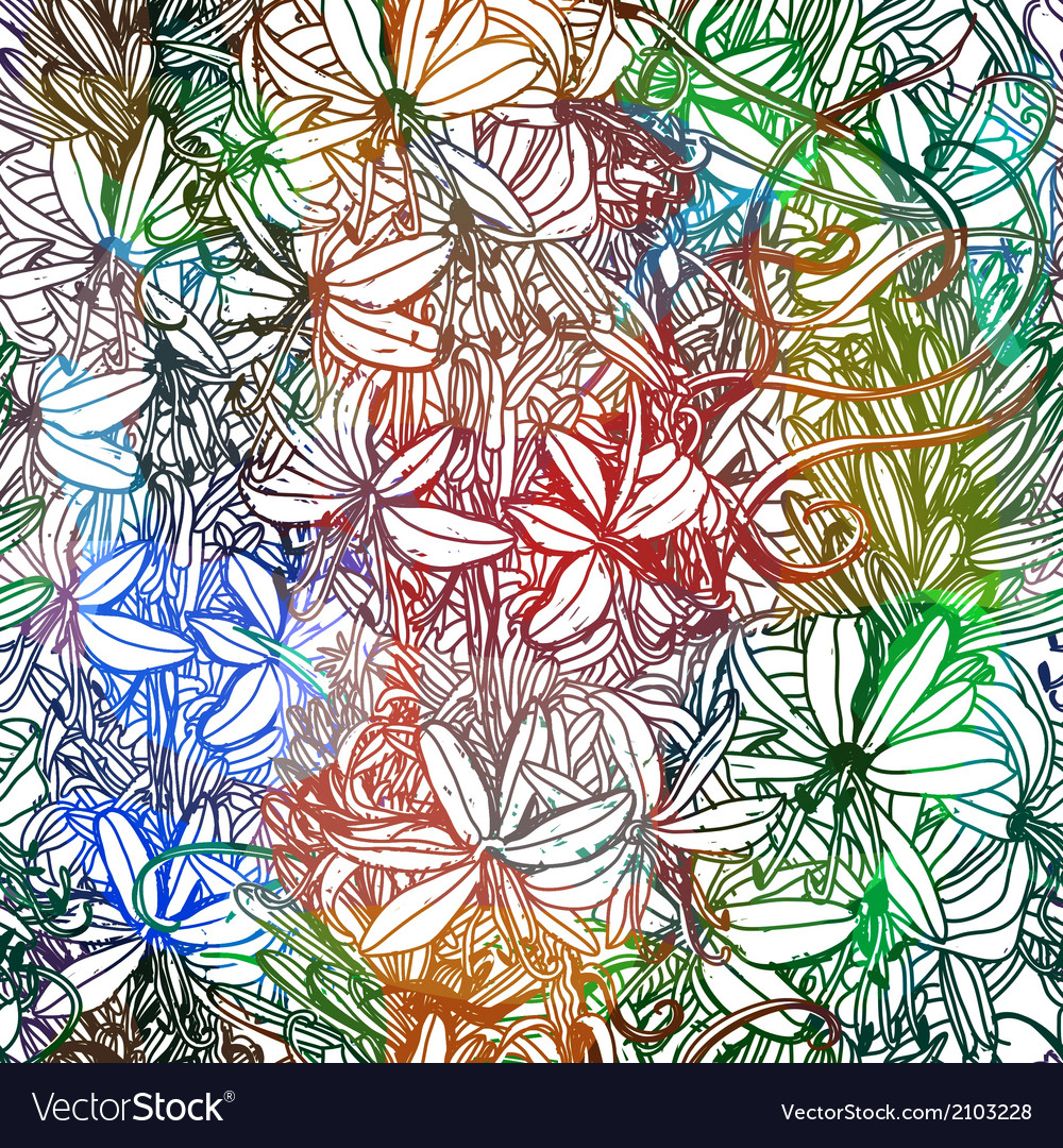 Abstract flowers seamless pattern EPS10 vector image