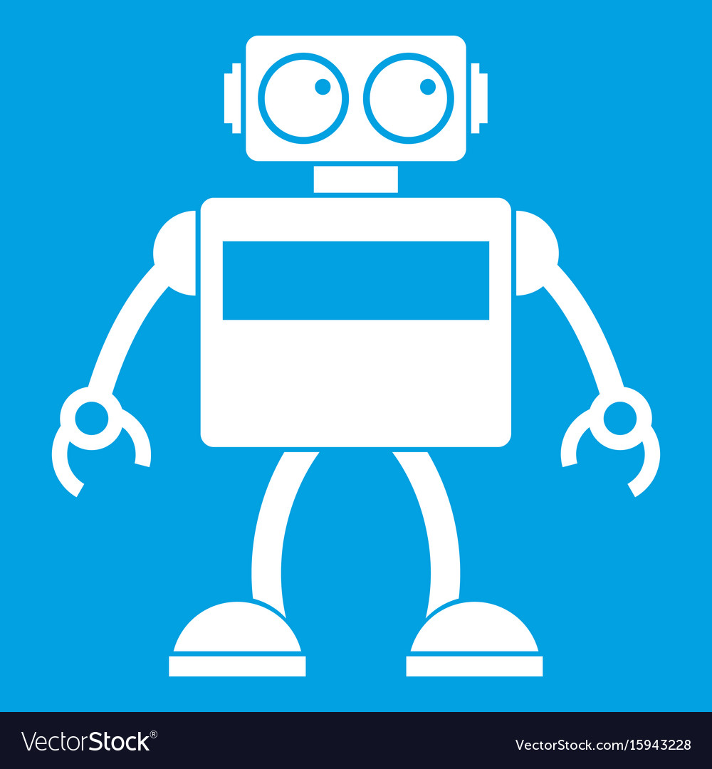 Android robot icon white Royalty Free Vector Image  Android robot i...