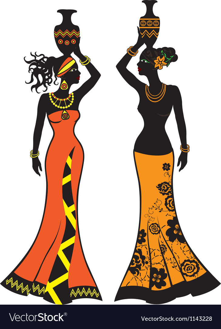 Beautiful African Woman With Vases Royalty Free Vector Image