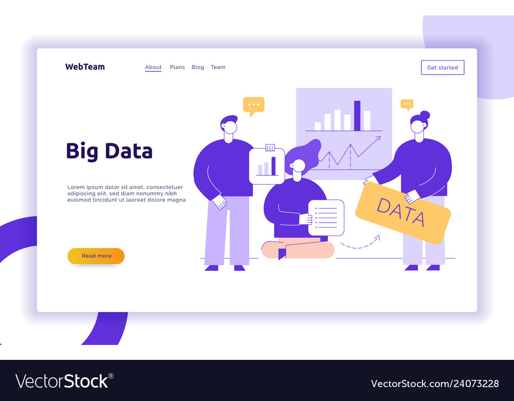 Big data web page banner concept design