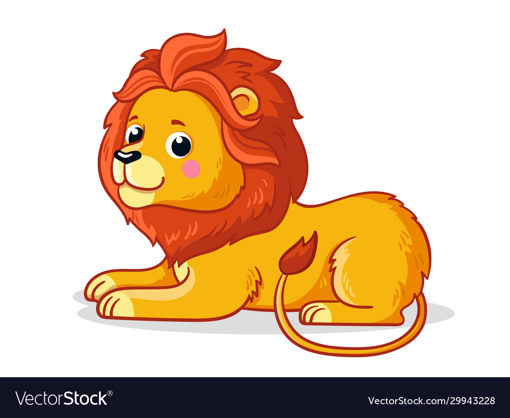 Cute young lion is sitting on a white background