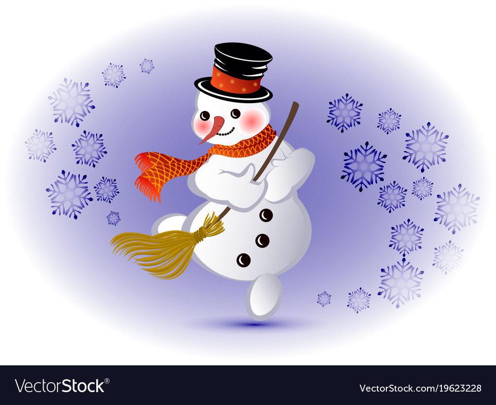 official photos 946f8 0b3eb Dancing snowman with broom and snowflakes eps10