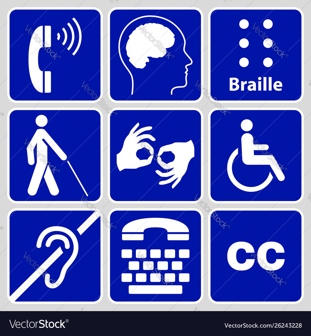 Disability symbols and signs collection