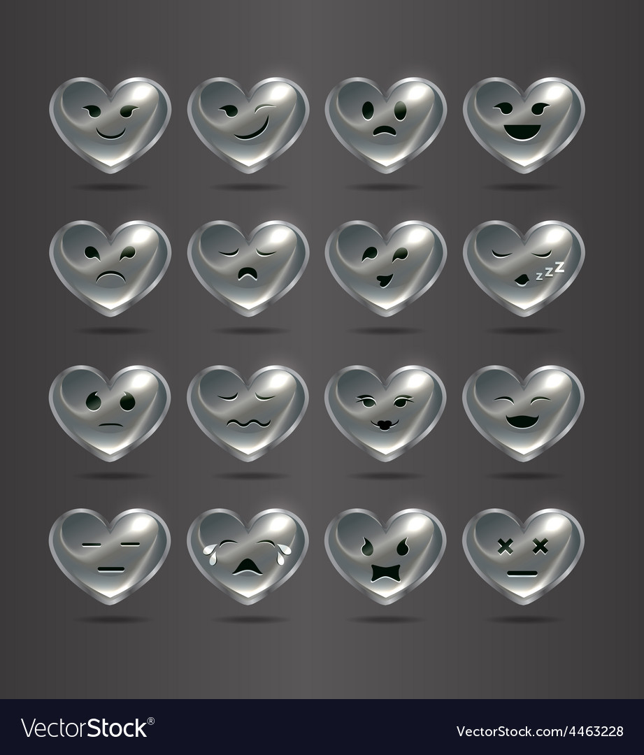 Funny metal heart-shaped emoticons