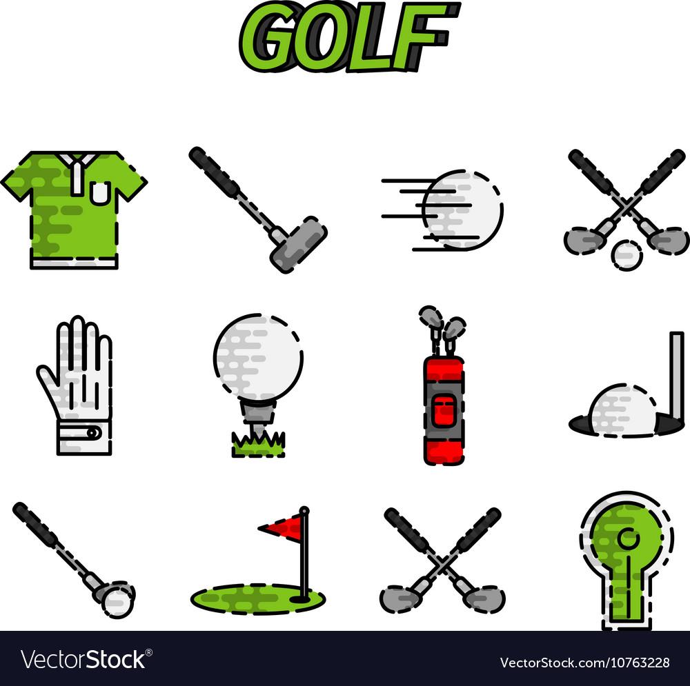 Golf flat icon set