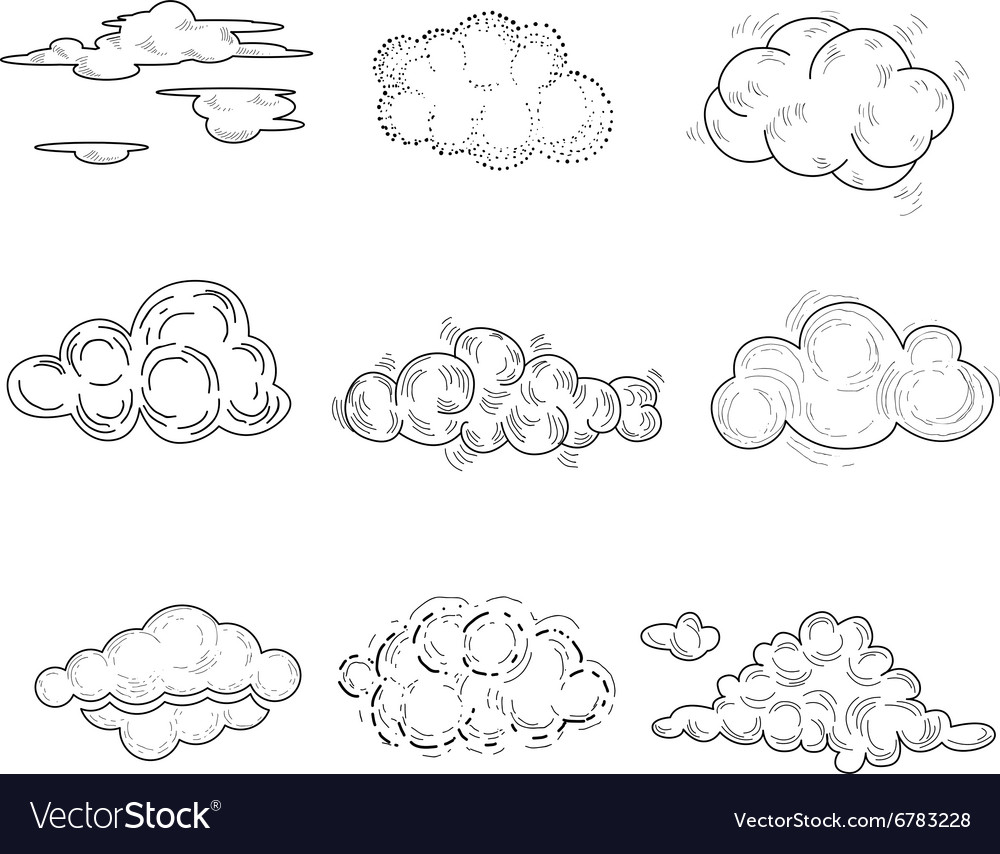 Hand Drawn Cloud Set
