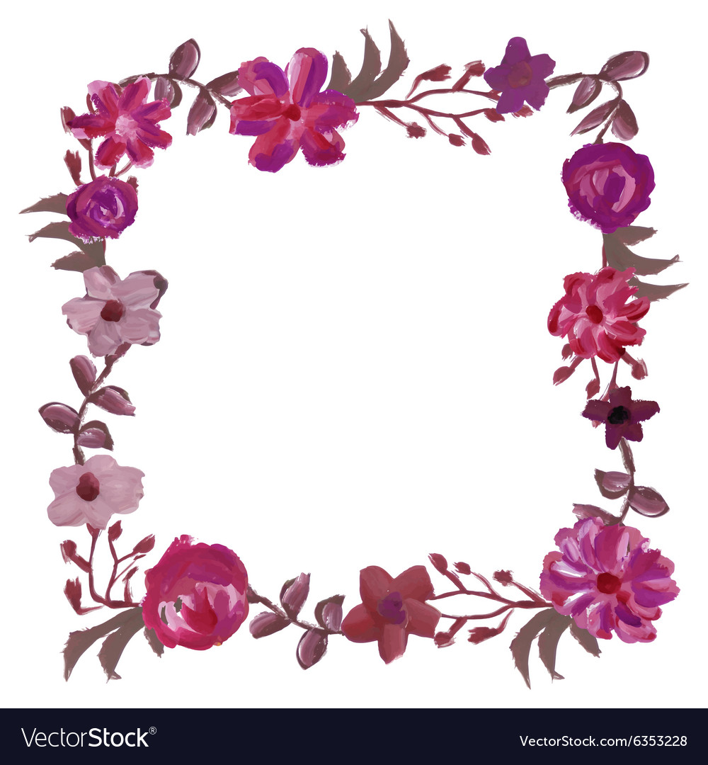 Square Floral Frame Royalty Free Vector Image Vectorstock