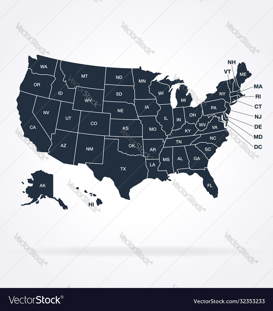 Accurate correct usa map with separated states